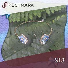 Blue flower open bangle!! A gold bracelet with a pretty blue flower design. Jewelry Bracelets