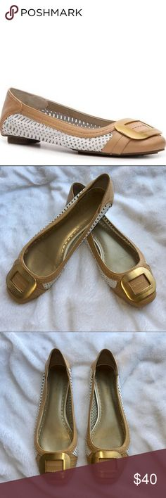 Adrienne Vittadini Kristina Flats • Gently worn flats  • Few small scratches on the gold metal buckle • Tan and white leather  • Perforated white leather on both sides • Size 8.5 - I wear size 8.5&9 and these fit me perfectly! • Please refer to pictures for light wear! Adrienne Vittadini Shoes Flats & Loafers