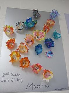 had them cut an organic shaped lip first, then colored them with markers, and finally folded them over a yogurt container and sprayed them; to give them a bowl shape once the starch dryed. They students loved this and they turned out pretty neat. I then hot glued them by classes onto matboard and hung them in the hallway.