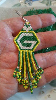 Greenback Packers earrings, peyote stitch