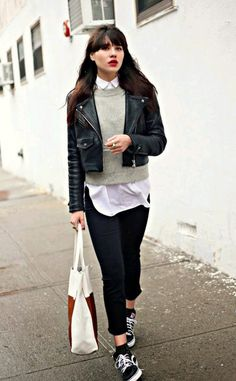 jacket leather jacket jeans sweater jumper button up white black shoes vans bag red
