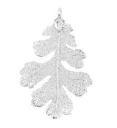 Real Leaf PENDANT Lacey OAK Dipped in Silver Genuine Leaf