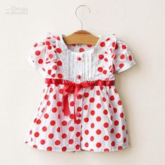 Girls size 8 red polka-dot tee | Wholesale Girl Clothes Casual Dresses Kids Summer Dress Red Polka Dot ...