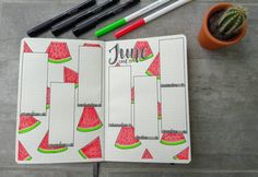 55 stunning watermelon bullet journal ideas bullet journal b Bullet Journal August, Bullet Journal Tracker, Bullet Journal School, Bullet Journal Cover Page, Bullet Journal Aesthetic, Bullet Journal Notebook, Bullet Journal Ideas Pages, Bullet Journal Layout, Journal Themes