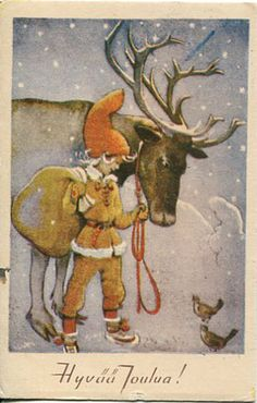 young gnome, no beard Finland Retro Illustration, Christmas Illustration, Old Christmas, Vintage Christmas, Vintage Cards, Vintage Postcards, Winter Art Projects, Elves And Fairies, Forest Creatures
