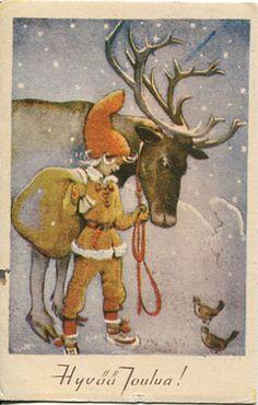 young gnome, no beard Finland Retro Illustration, Christmas Illustration, Old Christmas, Vintage Christmas, Winter Art Projects, Elves And Fairies, Forest Creatures, Postcard Art, Scandinavian Christmas
