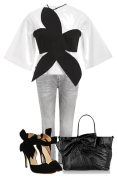 """Bows"" by juliehalloran ❤ liked on Polyvore featuring 7 For All Mankind, Rosie Assoulin, Valentino, women's clothing, women's fashion, women, female, woman, misses and juniors"