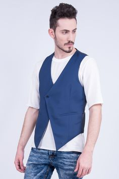 Blue Asymmetric Waistcoat