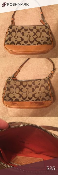 Coach bag Fabric is in excellent condition. Leather as the bottom of one side is a little discolored and inside has a few very small stains. Overall in good shape. Coach Bags Mini Bags