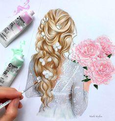 by Natalia Vasilyeva Amazing Drawings, Beautiful Drawings, Amazing Art, Girly Drawings, Realistic Drawings, Hair Sketch, Art Graphique, How To Draw Hair, Illustration Girl
