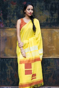 Yellow Space Saree from FashionMarket.lk