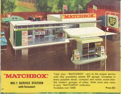 Matchbox Lesney 1969 catalog Page 20, Matchbox MG-1 Service Station with forecourt