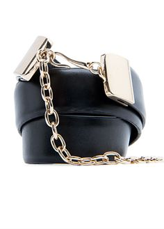 Slim leather belt with chain closure