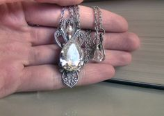 Victorian Crystal Drop Necklace Silver Swarovksi Jewel by Aranwen