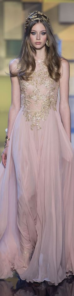 Elie Saab ~ Couture Soft Pink Gown w Gold + Crystal Embellishment 2015