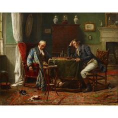 GÉRARD JOZEF PORTIELJE  (belgian 1856-1929)  CHESS MATCH  Signed and located 'Gerard Portielje Antwerp' bottom right, oil on canvas  18 1/4 x 23 in. (46.4 x 58.4cm) Estimate $2,000-4,000 Sold for $9,375 (buyer's premium included)
