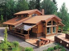 Architecture – Enjoy the Great Outdoors! House In The Woods, My House, Log Cabin Homes, Log Cabins, Cabins And Cottages, Home Fashion, My Dream Home, Exterior Design, Exterior Paint