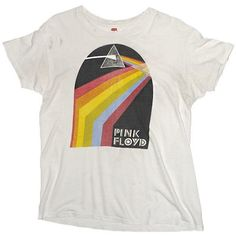 Vintage 70's Pink Floyd Dark Side Of The Moon T-shirt ($500) ❤ liked on Polyvore featuring tops, t-shirts, vintage t shirts, long length t shirts, dark t shirts, vintage tops and vintage tees