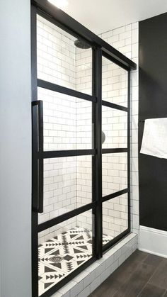 Gridscaps Series True Divided Light Factory Windowpane Sliding Shower Door installed on white subway tile. Love the cement tile floor Bad Inspiration, Bathroom Inspiration, Ideas Baños, Tile Ideas, Decor Ideas, Decorating Ideas, Basement Decorating, Basement Storage, Coastal Shower Doors