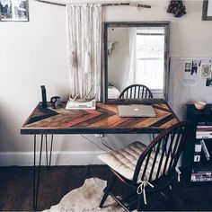 Handmade Hairpin Desk with Barnwood Chevron by TheWilloughbyFamily