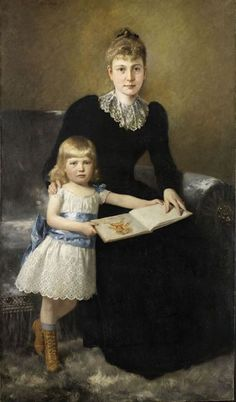 Theodor Dengler A Portrait of a Mother and Daughter 1891 Childrens Hour in Oil Painting Reading Art, Woman Reading, Reading Books, Claudia Tremblay, Cold Girl, 1890s Fashion, How To Read People, Holly Black, Mothers Love
