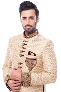 Beige Stone Embroidered Brocade Wedding Sherwani-SH521