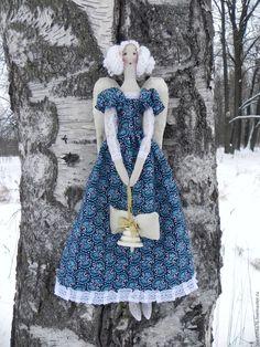 Купить Рождественский ангел тильда. - синий, ангел-хранитель, ангел рождества, тильда ангел