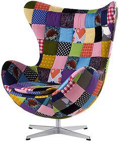 A Poltrona Egg, criada por Arne Jacobsen em 1957, recebeu uma carinha nova com esse patchwork. Foto: Fritz Hansen - Egg Chair Patchwork (2008)