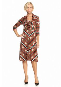 Robbie Bee Printed Cowl-neck A-line Dress