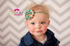 Green Baby headband green baby girl headband by catchthatrainbow