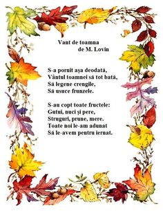 Poezie - Vant de toamna de M.Lovin Experiment, Act Practice, Kids Poems, Autumn Activities, 4 Kids, Kids Education, Nursery Rhymes, Preschool Activities, Projects For Kids