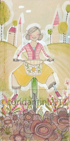 whimsical watercolor painting of a girl riding her bike - 5 x 10 - archival and limited edition print by cori dantini