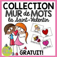 Collection Mur de mots - Mots de la Saint-Valentin GRATUIT | FREE French word wall cards for Valentine's Day