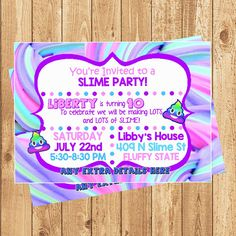 Slime Invitation Digital or Printed Slime Party Invitation