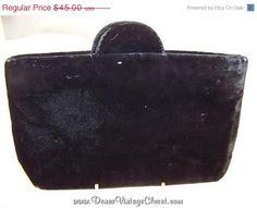 50% OFF Thanksgiving Sale Black Velvet Vintage Evening Bag Clutch Purse & Coin Purse #etsy #vintagepurse