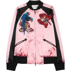 Valentino Appliquéd silk satin bomber jacket (11.620 BRL) ❤ liked on Polyvore featuring outerwear, jackets, pink sequin jacket, beaded jacket, jersey jacket, sequin jacket and sequin bomber jacket