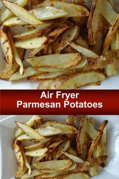 Parmesan Potatoes In Your Air Fryer. This Recipe is so easy to get tender potatoes in 20 minutes. You could even bake them in your oven. Air Fry Recipes, Quick Recipes, Potato Recipes, Cooking Recipes, Healthy Recipes, Oven Recipes, Yummy Recipes, Healthy Snacks, Easy Roasted Potatoes