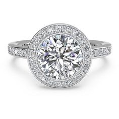 Ritani Micropave Halo Diamond Engagement Ring Setting ($2,520) ❤ liked on Polyvore featuring jewelry, rings, band jewelry, diamond jewellery, diamond jewelry, band rings and bezel set ring