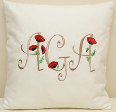 Monogrammed personalized cushion. Poppies cushion.