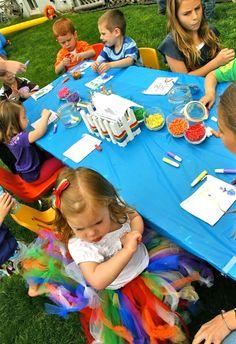 Rainbow party activity - art station (beading & painting)