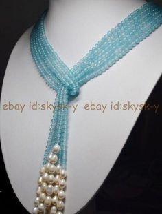 Details about 50 Long Charming 3 Strands Blue Aquamarine Gems & White Pearl Necklaces 50 Long Charming 3 Strands Blue Aquamarine Beads & White Pearl Necklace Bead Jewellery, Pearl Jewelry, Indian Jewelry, Diy Jewelry, Gold Jewelry, Beaded Jewelry, Jewelery, Jewelry Necklaces, Handmade Jewelry