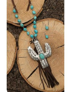 Wired Heart Brown Leather with Turquoise Beading and Cactus and Tassel Pendant Jewelry Set | Cavender's