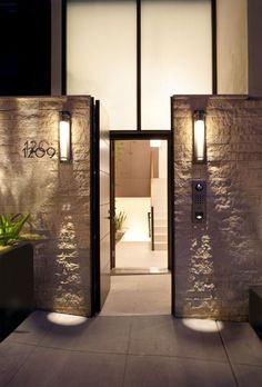 Outdoors: enchanting modern entrance gate design with concrete and wall mounted lighting ideas modern house design ideas home exterior decorating ideas Modern Entrance, Modern Front Door, Entrance Design, Entrance Gates, House Entrance, Front Doors, Front Entry, Modern Entryway, Front Gates