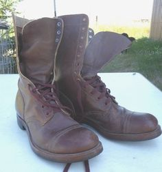 Rare Vintage Brown Corcoran Paratrooper Jump Boots 1953  Size 13.5 R #CorcoranParatrooperJumpBoots #MilitaryJumpBoots