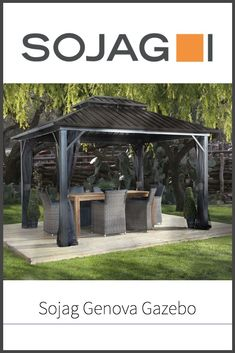 When the weather gets nice, you'll head out into your back yard to find...nowhere to hang out?  A gazebo can help with that.  What about the Sojag Genova Gazebo, yet another entry in the catalogue of Sojag's many different stylish backyard shelters.  Is a good one?  Read our full review!  #gazebo #sojag #backyard #thegnomeknows Diy Gazebo, Pergola, Hardtop Gazebo, Digging Holes, May Designs, Deco, Outdoor Dining, Garden Design, Things To Come