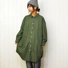 Sunvalley(サンバレー)オックス製品染前開きシャツワンピース/SKT-003008