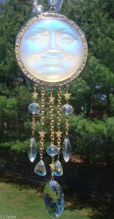 OOAK Kirks Folly Seaview Moon White Sun Catcher Ornament RARE LG AB CRYSTALS!