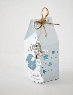 Boîte pour dragées thème étoiles et moulin à vent pour baptême, mariage