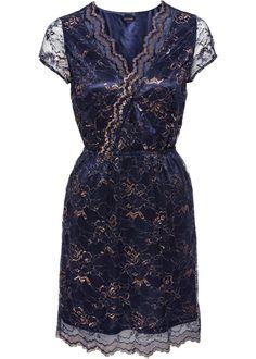 Jurk donkerblauw - BODYFLIRT nu in de onlineshop van bonprix.nl vanaf ? 35.99 bestellen. Chique jurk van tweekleurige, transparante kant met metallic ...