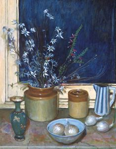 Still Life, Flannel Flowers and Onions ~ Artist Margaret Olley